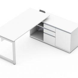 Mesa reta com armário auxiliar de 1 porta, nicho e gaveteiro