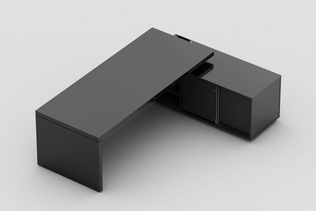 Mesa com pé painel e armário lateral com nicho aberto para CPU