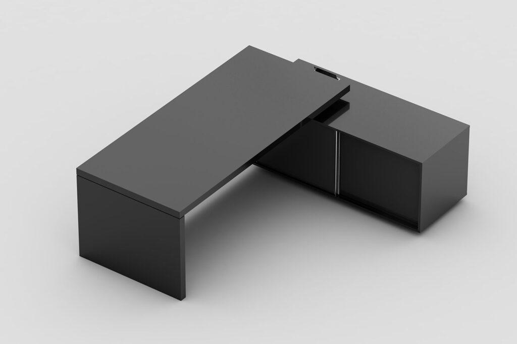 Mesa com pé painel e armário lateral com nicho para CPU interno