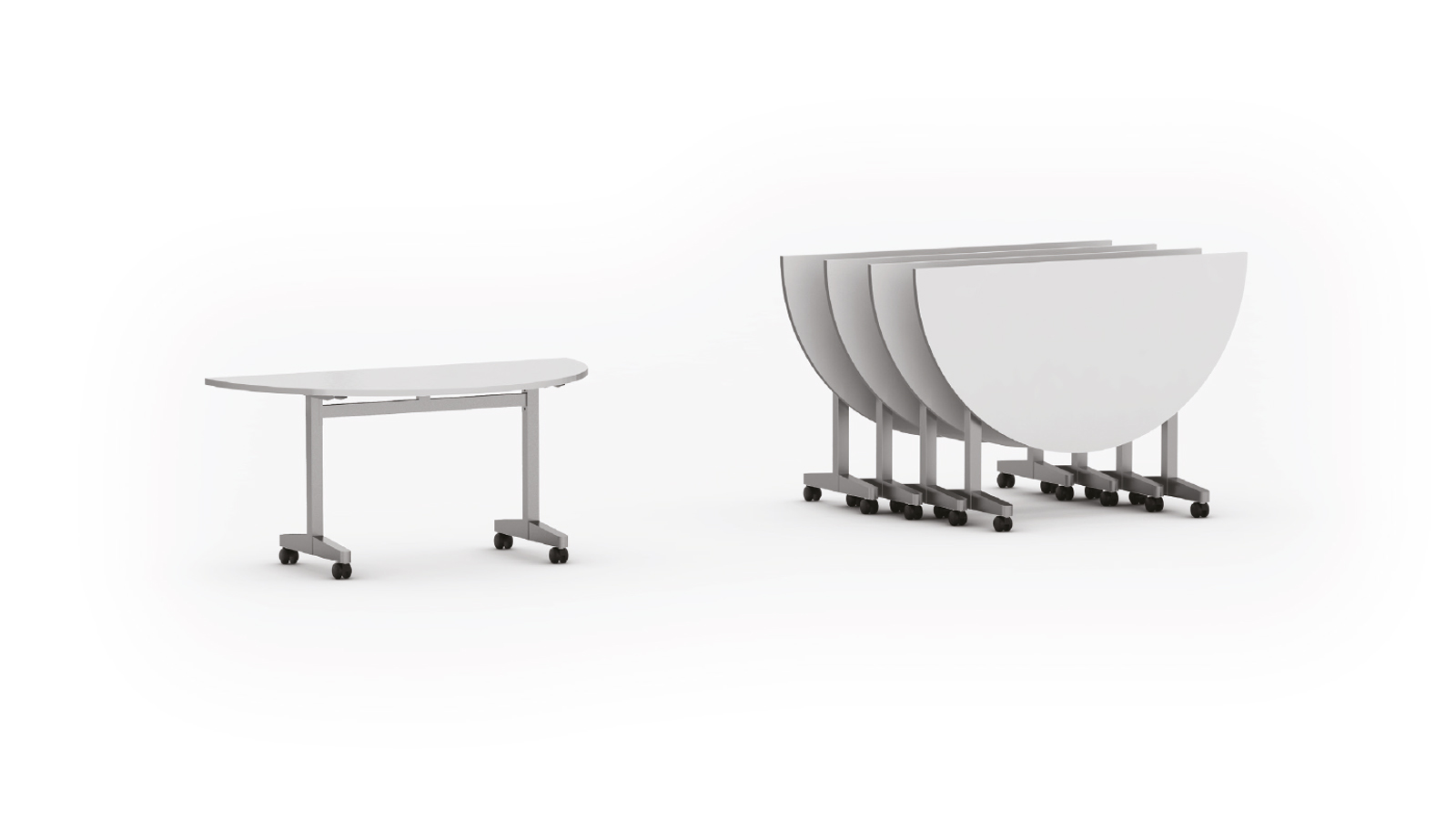 "Mesa rebatível semi circular pé modelo ""T"""