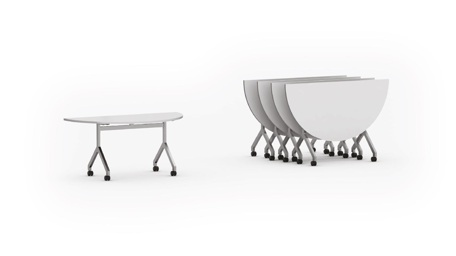"Mesa rebatível semi circular pé modelo ""Y"""