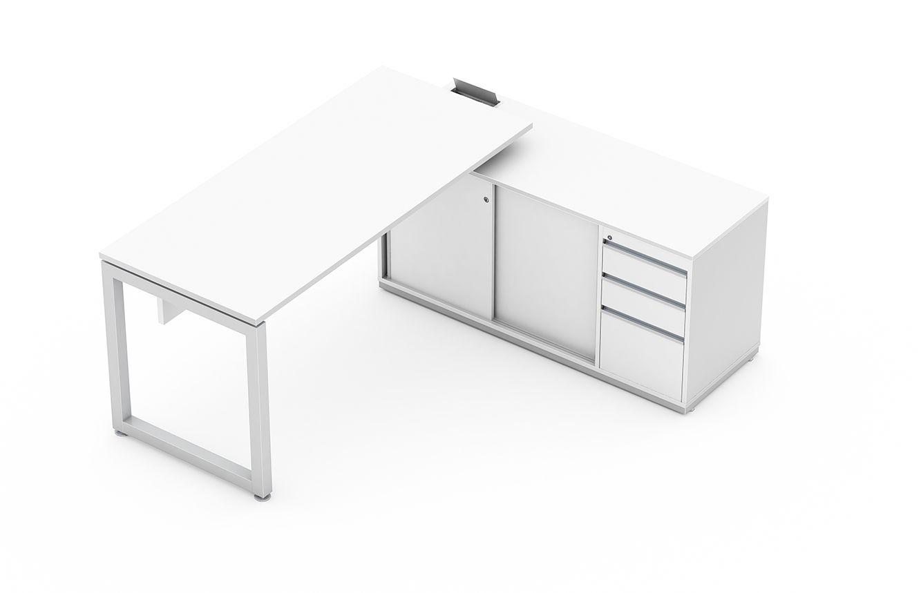 Mesa reta com armário auxiliar, portas de correr e gaveteiro